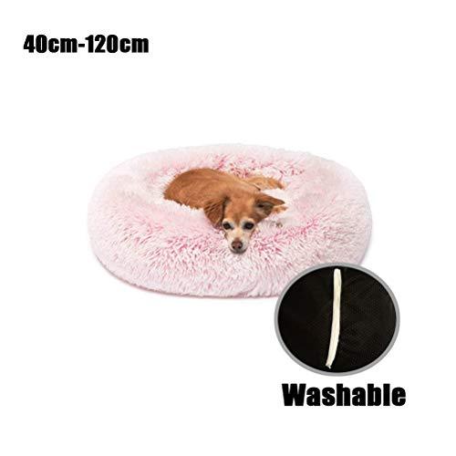 Lrhps Deluxe Round-Haustier-Bett für Hunde und Katzen, mit Reißverschluss, abnehmbarem, Hundebett Padded Katzenbett mit Kissen Ideal für kleine bis mittelgroße Hunde 40Cm-120cm,120cm