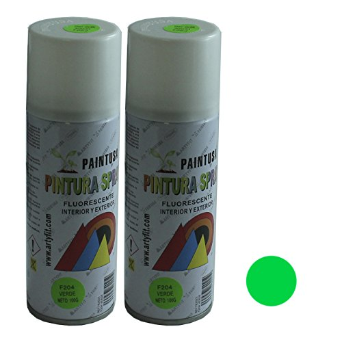 Paintusa - Pack de 2 botes de pintura en spray Verde Fluorescente F204 200 ml