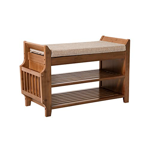 Shoe Rack & Shoe Bench & Detachable Cushion Concealed Drawer Perfect for Entryway