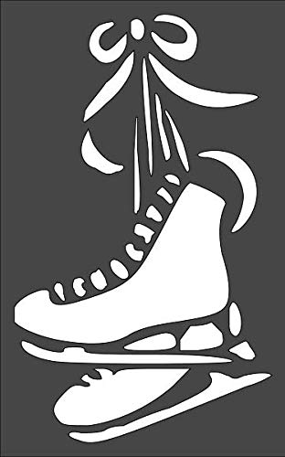 1- 5x8 inch Custom Cut Stencil, (NB-92) Ice Skates Arts and Crafts Scrapbooking Painting on The Wall Wood Glass