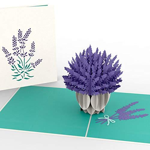 Gelukswenskaart verjaardagskaart, lavendel in witte vaas, 3D-pop-up-kaart, diverse gelegenheden, verjaardagskaart, felicitatiekaart, originele geschenkkaart, XXL alles goed