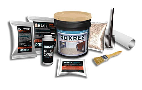 Rokrez Garage Floor Epoxy Kit, Industrial All-in-One Professional 2-Component Coating System, 230 oz, 2.5 Car Garage, Dark Gray Gloss