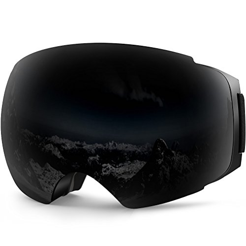 ZIONOR X4 Ski Snowboard Snow Goggles Magnet Dual Layers Lens Spherical Design Anti-Fog UV Protection Anti-Slip Strap for Men Women (VLT 19.25% Black Frame Black Lens)