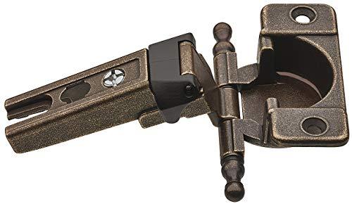 Gedotec Topfband Eckanschlag Topfscharnier Küche 180° für überfälzte Türen | Möbel-Scharnier brüniert matt | Möbelband 3-dimensional verstellbar | 1 Stück - Schrank-Scharnier Antik mit Montageplatte