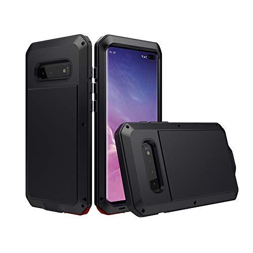 WYKDA Funda Samsung S10/S10 Plus Antigolpe Metal Armadura Anti Rasguños 360° Full Body Protección Dual Layer Aire Libre Tarea Pesada Back Cover,Negro,S9