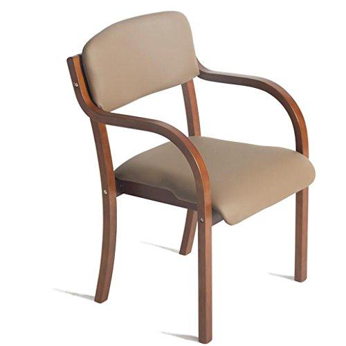 Rollsnownow Chaise de salle à manger en bois massif Coussin brun clair Chaise de bureau à dossier simple chaise Simplicité moderne (Color : Brown wooden frame)