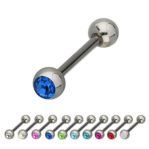 Treuheld®   Silberner Titan Piercing STAB mit KRISTALL - [34.] 1.2mm x 6mm (Kugeln: 3mm) - blau