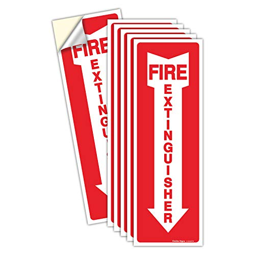 (6 Pack) Fire Extinguisher Sign, Safety Sticker Signs, 4x12 Inches, 6 Mil Vinyl Self Adhesive Durable Decal Stickers, Long Lasting, Weatherproof and UV Protected, Ideal for Home, Office or Boat