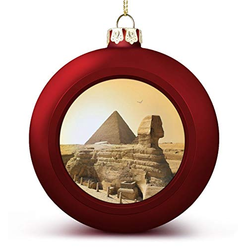 Egyptian Vintage of Sphinx and Pyramids in Ancient Famous Monument Cairo Christmas Ball Ornaments 2.4 Inch Shatterproof Xmas Tree Hanging Decorations for Holiday New Year Party Wedding Baubles