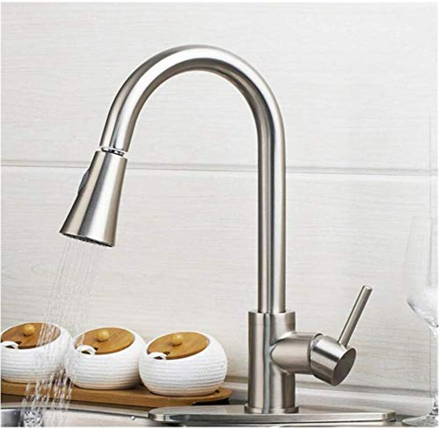 Brass Wall Faucet Chrome Brass Faucetbrushed Nickel Single Hand Kitchen Tap Mixer Brass & Cover Plate