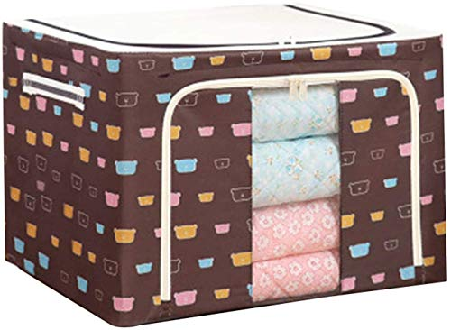 ADICOM Oxford Fabric Storage Box with Steel Frame,for Clothes Bed Sheets Blanket Pillow Shoe Holder Container Organizer,Foldable with Sturdy Zipper,Clear Window(40 * 30 * 20cm) D