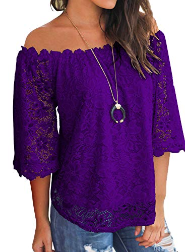 MIHOLL Women's Lace Off Shoulder Tops Casual Loose Blouse Shirts (Purple, X-Large)