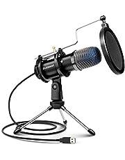 ELEGIANT Micrófono PC USB, Micrófono de Condensador con Trípode para Grabación de Estudio, Audio Chat en Línea para Facebook TIK Tok Skype Youtube, Ordenador Portátil, Tableta, Móvil, Mac, Negro
