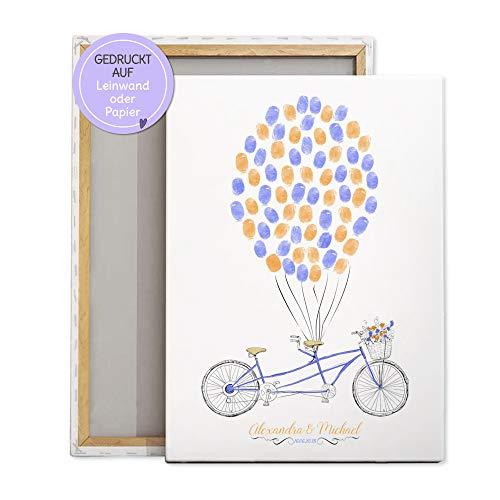 Tandem Fahrrad Wedding-Tree Leinwand Hochzeit, Fingerabdruck-bild Luftballone, Gästebuch Geschenk