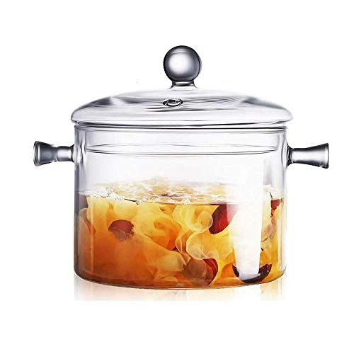 PIVFEDQX Exquisite Glass Saucepan with Cover - 6-Inch Handmade High Borosilicate Cookware w/Handle and Steam Hole - Lightweight, Dishwasher - Serving Pot, Cookie Jar - 1.5L/50oz