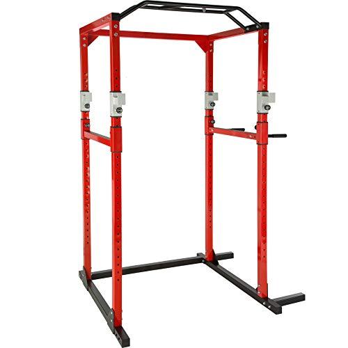 TecTake Station de Musculation Cage de Musculation | Double Barre de Traction | Barres à dips emboîtables - diverses Couleurs et modèles (Rouge Noir | No. 402739)