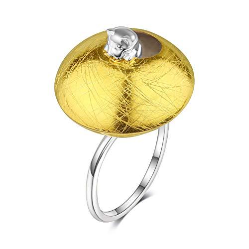 Lotus Fun S925 Sterling Silber Ring Freches Kätzchen Ring Natürlicher Kreativ Beliebt Handgemachter Einzigartiger Schmuck für Frauen und Mädchen (Silber Cat)