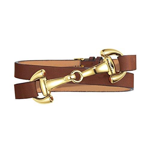 Trensen-Armband | DIMACCI | Favorit Kollektion | Schmuck für Reiterinnen | Geschenkidee für Pferdeliebhaber | Reiter-Schmuck (Cognac, Edelstahl vergoldet)