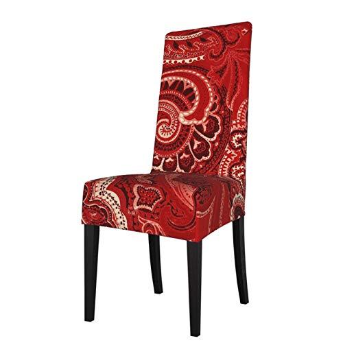 TOBEEY Silla de comedor Cubiertas Rojo Retro Paisley Stretch Muebles Protector Anti-Polvo Alto respaldo Silla Cubierta Para Restaurante