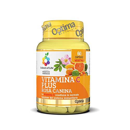 Colours of Life Vitamina C Plus - Integratore di Vitamina C - per la Normale Funzione del Sistema Immunitario - Senza Glutine e Vegano, 60 Capsule