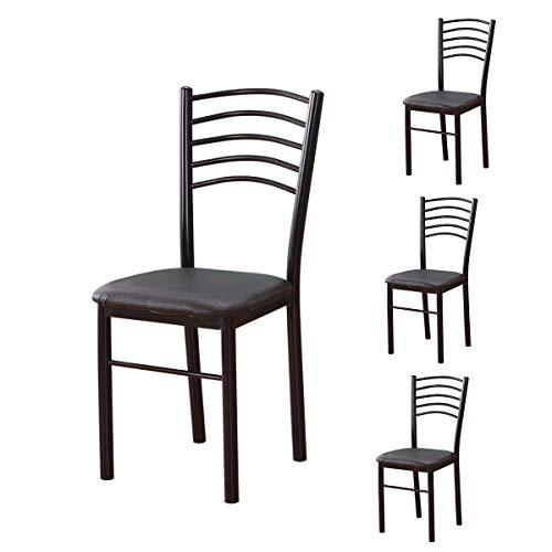 Lxn Simplicité Moderne Design Chaise en Fer forgé en Cuir Noir, Chaises de Loisirs sans Bras,de Loisirs, Salle à Manger,Cuisine,Chambre à Coucher,Chaises côté Salon de Type économique -Ensemble de 4