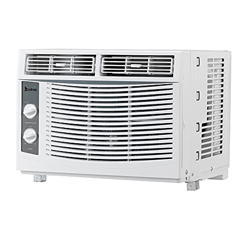 5000 BTU Window Air Conditioner, Energy Saving AC Unit with 7 Speeds, 2 Cool and Fan Settings, Washable Filter & Installation Kit Leaf Guards, 110V/60Hz, White