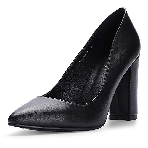 IDIFU Women's IN4 Chunky-HI Block High Heels Closed Pointed Toe Pumps Dress Office Shoes for Women (Black Pu, 8.5 M US)