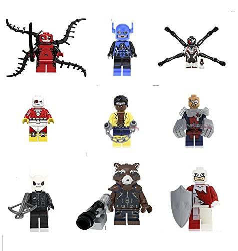 Toy Marvel Vengadores Superhéroes Batman, Spiderman, Wolverine, Hulk Mini, Sonic el erizo, figuras de Ninja de tortuga mutante, ajuste Lego (set F - (9 juguetes)