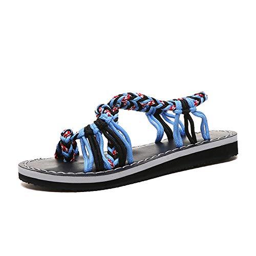 Sandalias De Mujer De Verano Azul Con Nudo De Cuerda Playa De Punta Abierta Para Mujer De Fondo Plano Zapatos De Espiga De Gran Tamaño Sandalias De Mujer Casual