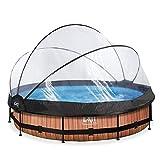 EXIT - Rahmenpool Wood - rund, ø360x76cm, braun, Holzoptik, inklusive Filterpumpe und multifunktionaler Abdeckung, Familien-Pool, Erwachsene und Kinder, Gartenpool, Aufstell-Pool