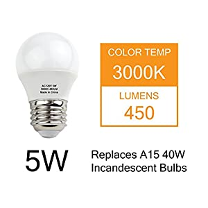 J.LUMI BPC4505 LED Light Bulb 5W, A15 Bulb, G45 Bulb Shape, Replaces 40W Incandescent, E26 Medium Base, 3000K Warm White, Not Dimmable (Pack of 4)