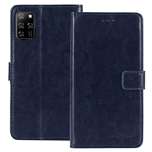 TienJueShi Azul Oscuro Retro Premium Función de Soporte Funda Caso Teléfono Case para Elephone E10 6.5 Inch Carcasa Proteccion Cuero Cover Etui