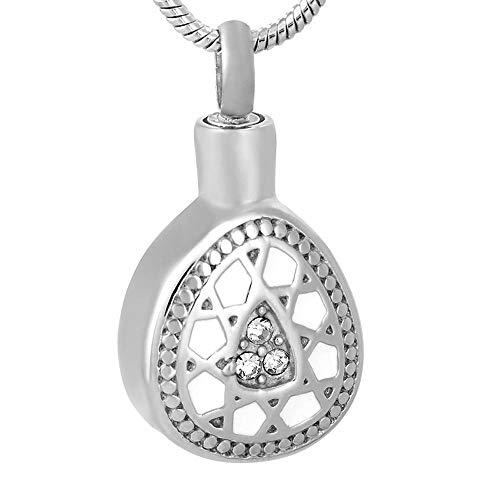 JJPRFO Collar de urna joyería para Hombres joyería de cremación de urna de Acero Inoxidable con Gota de Agua Plateada en Collares Pendientes diseño único de Mujer