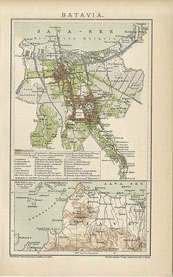 Kunstdruck Batavia Stadtplan Jakarta Java Indonesien Stadthaus Buitenkerk Brockhaus 0021