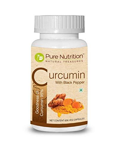 Pure Nutrition Curcumin with Black Pepper - 500 mg of Turmeric Extract 95% Curcuminoids per Capsules | 60 Veg Caps