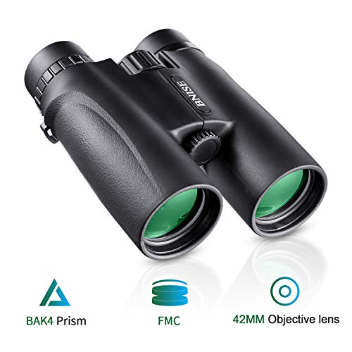 BNISE Binoculars for Adults, 10x42 HD Asika Military Telescope for Hunting and Travel - Compact Folding Size - High Clear Large Vision - Black Color