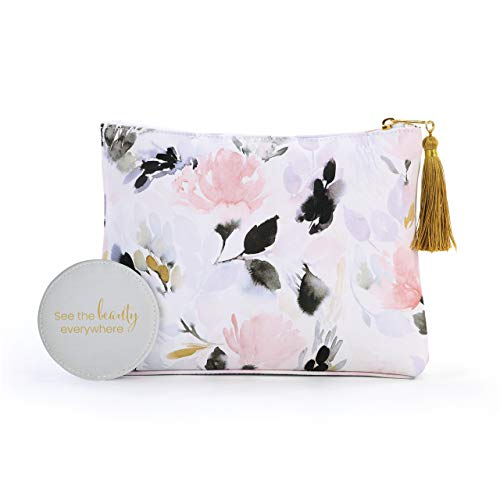 Floral Pattern Watercolor Pink 10 x 7 Faux Leather Cosmetic Zip Pouch Bag