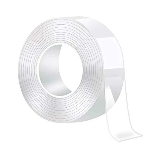 DOSMUNG Waschbares Spurloses Doppelseitige Klebebänder, 3M Nano Klebeband, Mehrzweck Transparent Magic Tape Extrem Starker Klebekraft, Wiederverwendbare, Hitzebeständig, Rückstandsfrei (White-1)