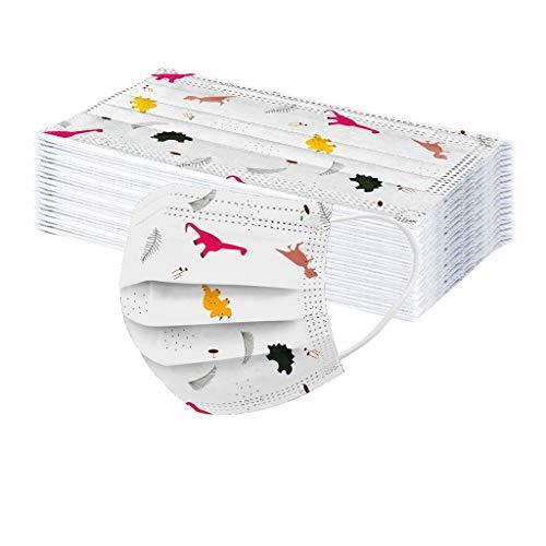 50 Stück Einweg-Kindergesichts-Bandanas, schöner Dinosaurier-Druck, 3-lagiges Vlies, atmungsaktiv (A)