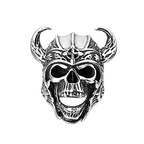 HCMA Cool Silver Color 316L Acero Inoxidable Viking Warrior Skull Anillos Hombres Punk Nordic God of War Biker Joyería Regalo para él