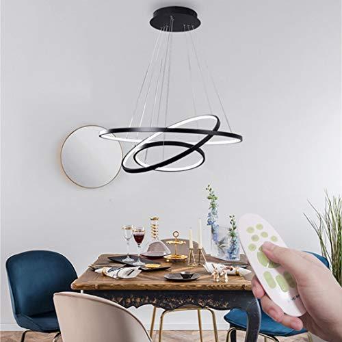 Moderne LED Pendelleuchten, Metall Kronleuchter Höhenverstellbar 3 Ringe (30+45+60cm) Hängelampen, Dimmbar Kronleuchter für Schlafzimmer Esszimmer Restaurant Lampen (WODA Shang Mao) (Schwarz)