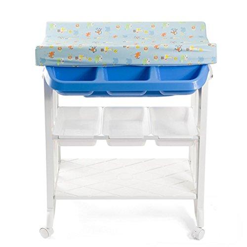 Ali@ Trois couches PVC 0~3 ans bébé support de douche, table à langer, avec roulettes Nursing Desk, facile à basculer entre plusieurs modes 20 kg de charge (Couleur : Bleu)