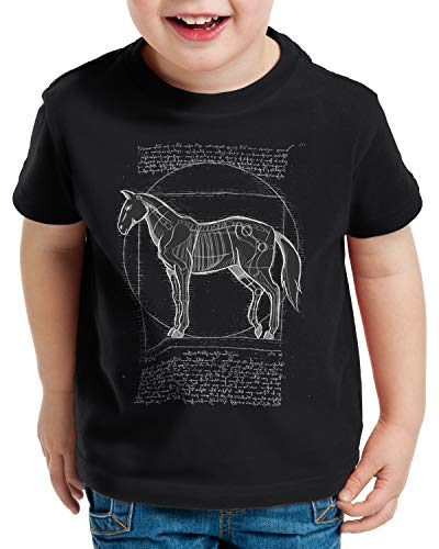 style3 Caballo de Vitruvio Camiseta para Niños T-Shirt yegua Semental Pony Montar, Color:Negro, Talla:116