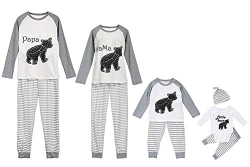 Greetuny Pijama Familiar a Juego Dibujos Animados Tops a Rayas Pantalones Bebe Unisex Casual Camisetas Padres e Hijos Divertidos Ropa para Dormir