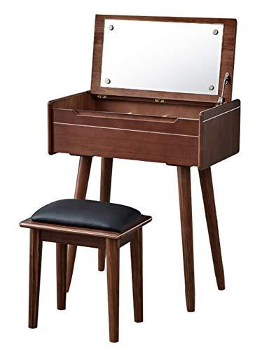 HYE-Table Espejo con Tapa abatible, tocador, tocador, tocador, Juego de Mesa de Maquillaje con divisores, organizadores móviles para Regalo de niñas, Color Nogal
