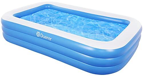 Duerer Aufblasbare Pool, Großer Familienpool, Pool rechteckig für Kinder, Familienschwimmbad, Aufblasbare Schwimmbäder, Schwimmzentrum, Erwachsene, Babys, Outdoor, Easy Set - 241cm x 142cm x 56cm