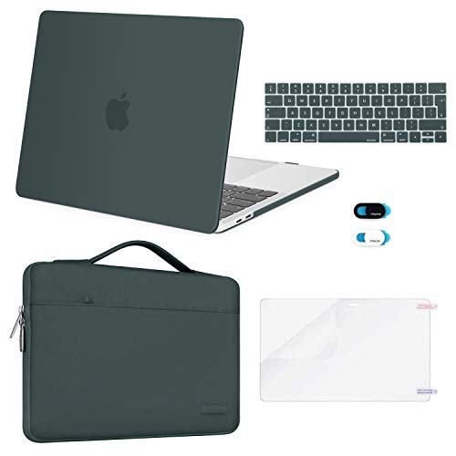 MOSISO Compatible with MacBook Pro 13 inch Case 2016-2020 Release A2338 M1 A2289 A2251 A2159 A1989 A1706 A1708, Plastic Hard Shell Case&Bag&Keyboard Skin&Webcam Cover&Screen Protector, Midnight Green