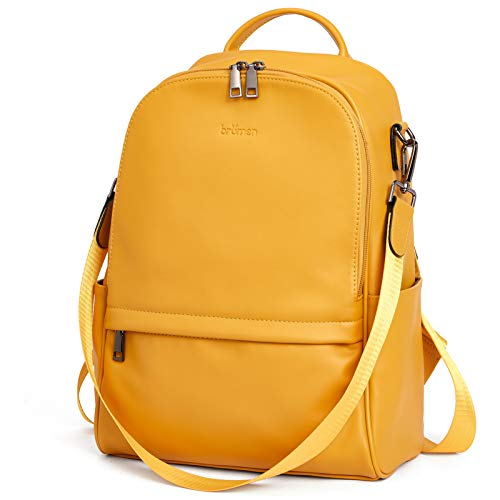 BROMEN Backpack Purse for Women Leather Anti-theft Travel Backpack Fashion College Shoulder Handbag Yellow