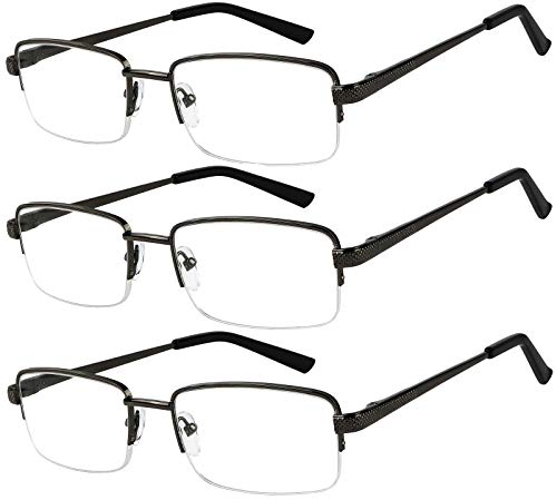 Reading Glasses Set of 3 Half Rim Black Metal Glasses for Reading Quality Spring Hinge Readers Men and Women +3