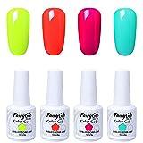 Smalto Semipermente per Unghie in Gel UV LED Kit per Manicure Soak Off Smalti Gel per Unghie di Fairyglo 4 Colori 15ml-C007